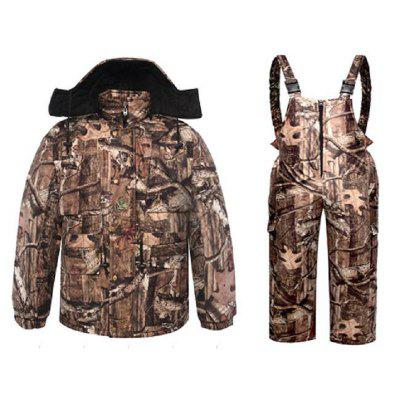 DaMaiZhang Outdoor Sports Camo Winter Hunting Suit Fishing Clothing Camouflage Fleece Jacket Warm Straps Trousers