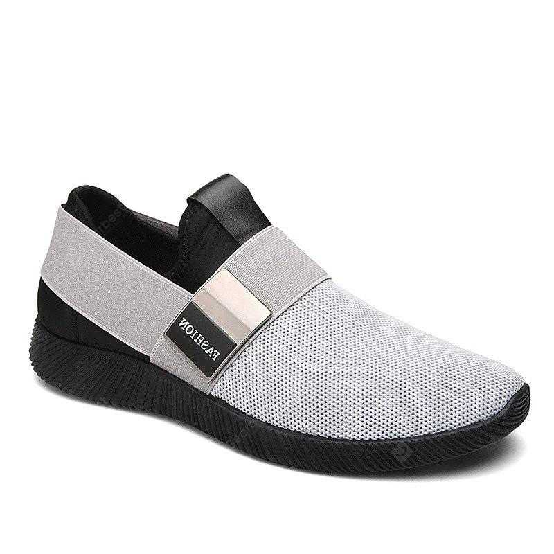 free shipping 100% authentic Men Stretch Mesh Fabric Elastic Panels Metal Decoration Sport Running Sneakers Shoes - Light Gray 44 latest collections cheap online sale many kinds of amazing price for sale genuine for sale hDYGofBUM4