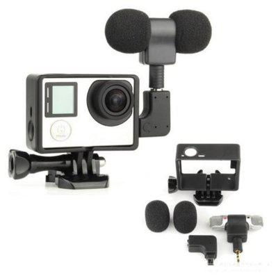 Gopro External Microphone Mic + Border Frame Mount Kit + Adapter for Hero 4 3+ 3Action Cameras &amp; Sport DV Accessories<br>Gopro External Microphone Mic + Border Frame Mount Kit + Adapter for Hero 4 3+ 3<br><br>Accessory type: Camera Accessories Kit<br>Package Contents: 1 x Protective Standard Frame , 1 x Mini Microphone Adapter , 1 x External 3.5mm Microphone , 2 x Microphone Windshield Foam Cover<br>Package size (L x W x H): 7.00 x 5.00 x 3.00 cm / 2.76 x 1.97 x 1.18 inches<br>Package weight: 0.0300 kg<br>Product size (L x W x H): 6.30 x 4.50 x 2.40 cm / 2.48 x 1.77 x 0.94 inches<br>Product weight: 0.0250 kg