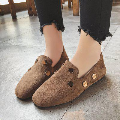 Antique Suede Flat Bottom Rivet Single ShoeWomens Flats<br>Antique Suede Flat Bottom Rivet Single Shoe<br><br>Available Size: 36.37.38.39.40<br>Closure Type: Slip-On<br>Embellishment: Metal<br>Gender: For Women<br>Outsole Material: Rubber<br>Package Contents: 1 x shoes ?pair?<br>Pattern Type: Others<br>Season: Summer, Spring/Fall<br>Toe Shape: Round Toe<br>Toe Style: Closed Toe<br>Upper Material: Flock<br>Weight: 1.0800kg