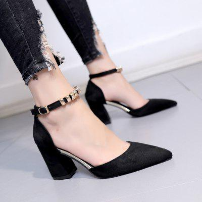 Fashion Temperament Female High HeelsWomens Pumps<br>Fashion Temperament Female High Heels<br><br>Heel Type: Chunky Heel<br>Occasion: Casual<br>Package Contents: 1 x shoes ?pair?<br>Pumps Type: Ankle Strap<br>Season: Summer, Spring/Fall<br>Toe Shape: Pointed Toe<br>Toe Style: Closed Toe<br>Upper Material: Flock<br>Weight: 1.0800kg