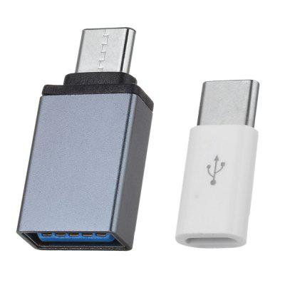 Type C Male to Micro USB Female Adapter and Type C Male to USB 3.0 Female Adapter Kit (2pcs)