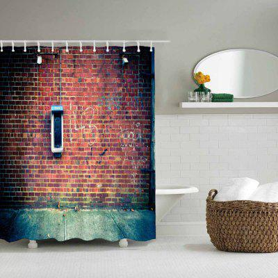 Retro Phone Booth Bathroom Waterproof Polyester Shower Curtain