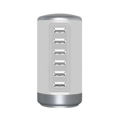 Cylindrical Home Intelligent 6USB Charger For Cell Phone and Mobile Devices
