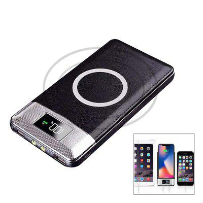 10000mAh Power Bank Qi Wireless Charging 2 USB LCD LED Portable Battery Charger