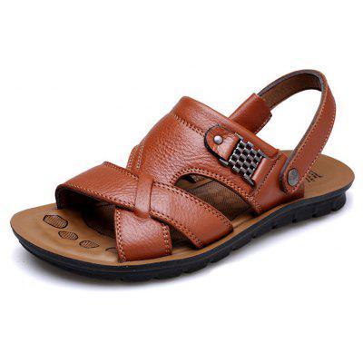 Summer Men Casual Leather Non-slip Sandals Beach SlippersMens Sandals<br>Summer Men Casual Leather Non-slip Sandals Beach Slippers<br><br>Available Size: 39-44<br>Closure Type: Slip-On<br>Embellishment: None<br>Gender: For Men<br>Occasion: Casual<br>Outsole Material: PU<br>Package Contents: 1 x Sandals (pair)<br>Pattern Type: Solid<br>Sandals Style: Ankle-Wrap<br>Style: Leisure<br>Upper Material: Leather<br>Weight: 1.4080kg
