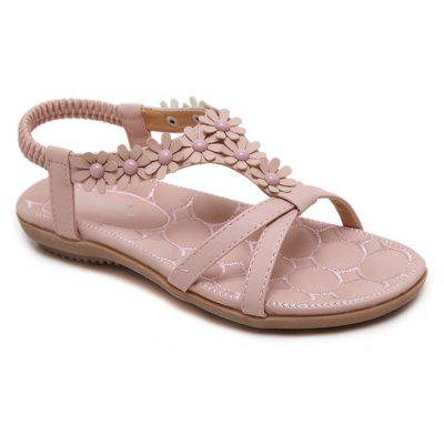 Mulheres Summer Casual Leather Flowers Slip-on Flat Sandals