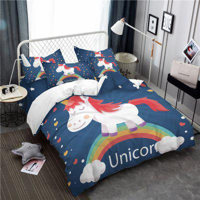 3D Series Cartoon Unicorn Pattern Three or Four Pieces Bedding SetBedding Sets<br>3D Series Cartoon Unicorn Pattern Three or Four Pieces Bedding Set<br><br>Category: Bedding Set<br>For: All<br>Functions: Multi-functions<br>Material: Cotton, Polyester<br>Occasion: Bedroom, School<br>Package Contents: 1 x Duver Cover,2 x Pillowcases,1 x Bed Sheet or 1 x Duver Cover,2 x Pillowcases,<br>Package size (L x W x H): 24.00 x 20.00 x 5.00 cm / 9.45 x 7.87 x 1.97 inches<br>Package weight: 2.1500 kg<br>Type: Fashion, Leisure, Comfortable, Decoration, Novelty