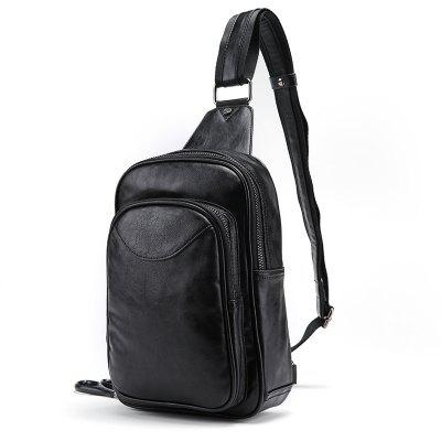 Fashion Men Chest Pack Casual PU Leather Sling Bag Cycling Unbalance Backpack