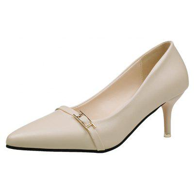 Shallow Muzzle Foot Metal Buckle ShoesWomens Pumps<br>Shallow Muzzle Foot Metal Buckle Shoes<br><br>Heel Type: Stiletto Heel<br>Occasion: Dress<br>Package Contents: 1xShoes pair<br>Pumps Type: Basic<br>Season: Spring/Fall<br>Toe Shape: Pointed Toe<br>Toe Style: Closed Toe<br>Upper Material: PU<br>Weight: 0.8320kg