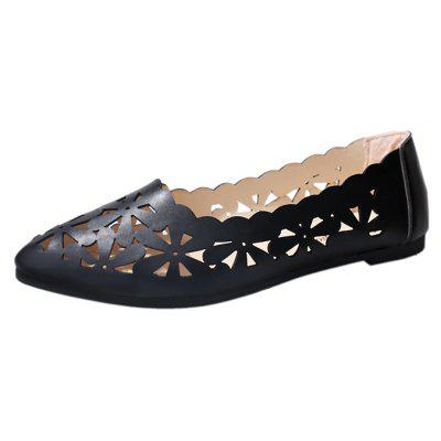 Flat Bottom Hollowed Out Single ShoeWomens Flats<br>Flat Bottom Hollowed Out Single Shoe<br><br>Available Size: 35,36,37,38,39,40,41<br>Closure Type: Slip-On<br>Flat Type: Mary Janes<br>Gender: For Women<br>Occasion: Casual<br>Package Contents: 1xShoes pair<br>Package size (L x W x H): 26.00 x 12.00 x 10.00 cm / 10.24 x 4.72 x 3.94 inches<br>Package weight: 0.5000 kg<br>Pattern Type: Solid<br>Season: Spring/Fall<br>Toe Shape: Pointed Toe<br>Toe Style: Closed Toe<br>Upper Material: PU