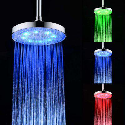 BRELONG 8 - inch LED Temperature Three-color Shower Spray Round