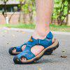 ZEACAVA Men's First Layer of Spring and Summer Leather Sandals - BLUE