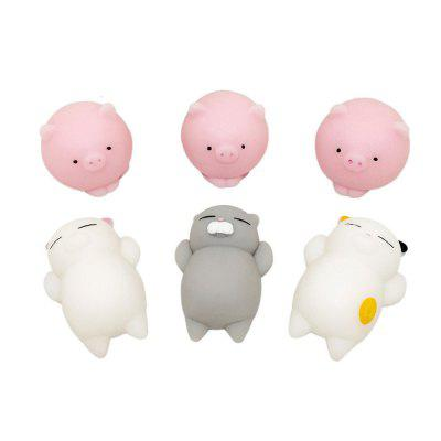 Kawaii Jumbo Squishy Toys Cats and Pigs Healing Toys Stress Reliever Toy for Kids Adults 6PCS