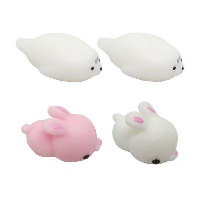 Kawaii Jumbo Squishy Konijn en Seal Mini Animal Healing Stress Reliever Toy voor kinderen Volwassenen 4PCS