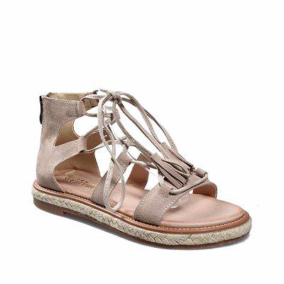 Women's Gladiator Sandals Hollow Out Lace Up Design Flat Sole Trendy Casual Shoes