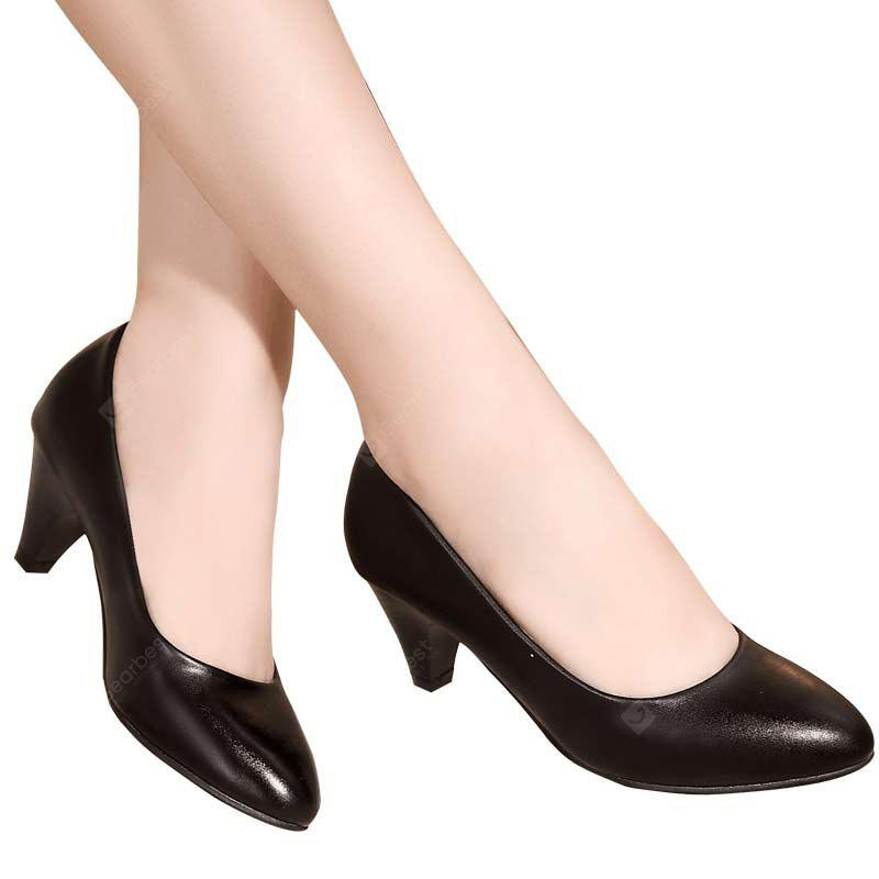 YALNN New Women Leather Classic Pumps Work Office Girls 5cm Med Heel Shoes BLACK 39