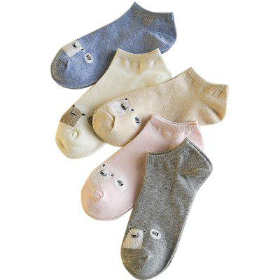 Spring and Summer  New Womens Cotton All-match Thin Socks Five Pairs of Socks with Different Color