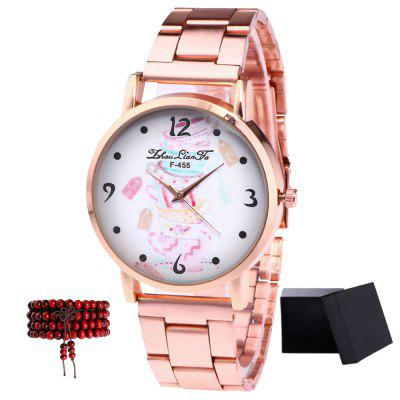 ZhouLianFa New Rose Gold Steel Bracelet with Quartz Watch Table with Beads