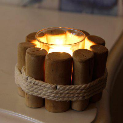 Rural Style Pure Manual Wood Candle Holder Tealight Candlestick