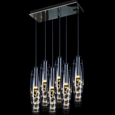 LED Crystal Pendant Light Restaurant Explosion-Proof Glass 6 Head Rectangle Light Color