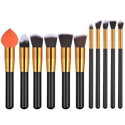 Buy 11PCS Black Gold High Quality Professional Makeup Brushes Set BLACK + GOLDEN for $13.52 in GearBest store