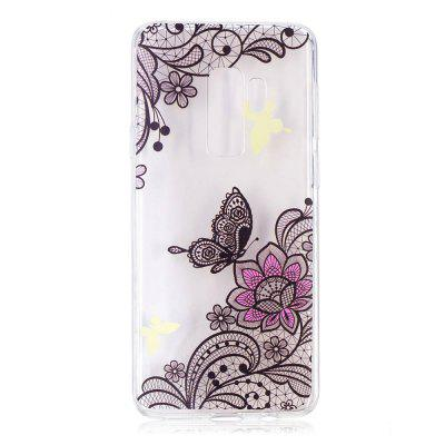 TPU Material Diagonal Flowers Pattern Painted Phone Case for Samsung Galaxy S9 Plus