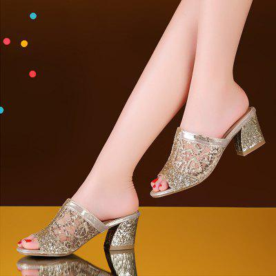 """Womens Slippers Mid Thick Heel Peep Toe Elegant Ladylike Trendy ShoesSlippers &amp; Flip-Flops<br>Womens Slippers Mid Thick Heel Peep Toe Elegant Ladylike Trendy Shoes<br><br>Available Size: 35  36  37  38  39  40  41<br>Embellishment: Lace<br>Gender: For Women<br>Heel Height: 5.5<br>Heel Height Range: Med(1.75""""-2.75"""")<br>Heel Type: Chunky Heel<br>Insole Material: PU<br>Leather Style: Printing Leather<br>Lining Material: PU<br>Outsole Material: Rubber<br>Package Contents: 1 x shoes(pair)<br>Pattern Type: Print<br>Platform Height: 0.4<br>Season: Summer<br>Shoe Width: Medium(B/M)<br>Slipper Type: Indoor<br>Style: Fashion<br>Technology: Adhesive<br>Upper Material: Lace<br>Weight: 0.8512kg"""
