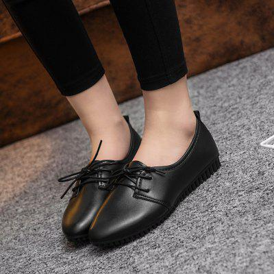 Shallow Bottom Flat Bottomed Female Lounge Single ShoeLoafers<br>Shallow Bottom Flat Bottomed Female Lounge Single Shoe<br><br>Available Size: 35--40<br>Closure Type: Lace-Up<br>Embellishment: None<br>Gender: For Women<br>Outsole Material: Rubber<br>Package Contents: 1xShoes(pair)<br>Pattern Type: Solid<br>Season: Summer, Spring/Fall<br>Toe Shape: Round Toe<br>Toe Style: Closed Toe<br>Upper Material: PU<br>Weight: 1.5000kg