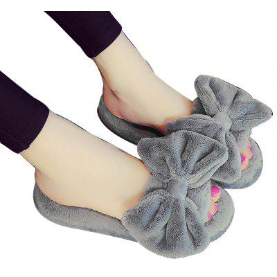Sweet Bowknot Solid Peep Toe Plush Super Soft Home Slippers