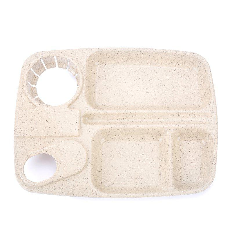 1Pc Wheat Straw with Cup Tray BEIGE