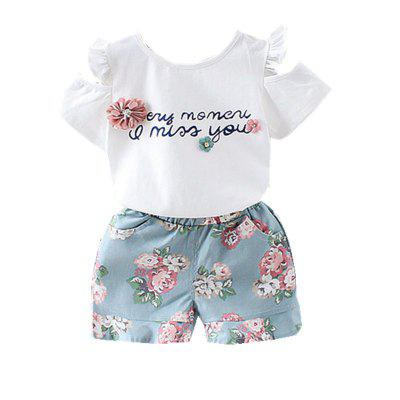 Baby Girl's Shorts Set 2pcs Short Sleeve Letter T-Shirt Baby Clothes