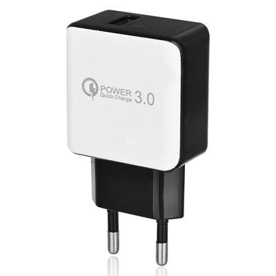 QC3.0 Fast Charging EU Plug USB AC Charger + USB 3.1 Type-C Charging / Data Transfer CableChargers &amp; Cables<br>QC3.0 Fast Charging EU Plug USB AC Charger + USB 3.1 Type-C Charging / Data Transfer Cable<br><br>Color: Black,White<br>Package Contents: 1 x QC3.0 USB Charger, 1 x Cable<br>Package size (L x W x H): 14.50 x 9.50 x 2.00 cm / 5.71 x 3.74 x 0.79 inches<br>Package weight: 0.0680 kg<br>Product size (L x W x H): 8.00 x 4.50 x 2.00 cm / 3.15 x 1.77 x 0.79 inches<br>Product weight: 0.0630 kg