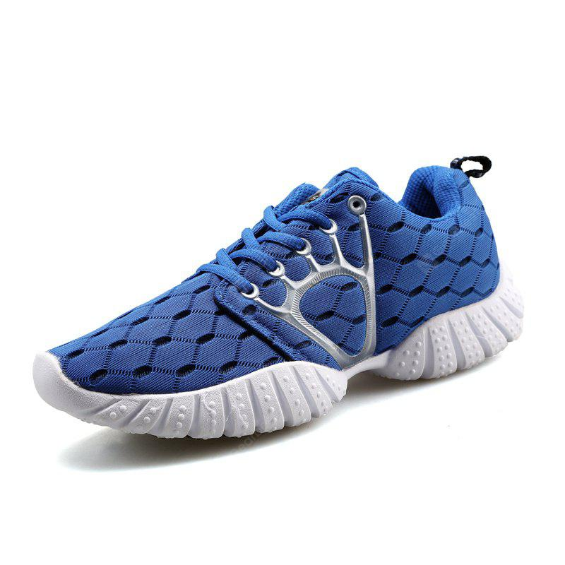 ZEACAVA Male Breathable Knitted Lace Up Athletic Shoes - Blue 40