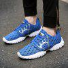 ZEACAVA Male Breathable Knitted Lace Up Athletic Shoes - BLUE