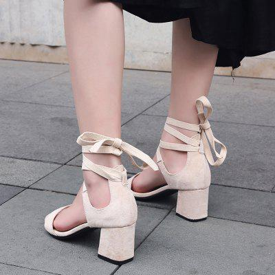 The New 18-27 Round Rough Heels All-Match Strap SandalsWomens Sandals<br>The New 18-27 Round Rough Heels All-Match Strap Sandals<br><br>Available Size: 32-43<br>Closure Type: Lace-Up<br>Gender: For Women<br>Heel Type: Others<br>Occasion: Casual<br>Package Content: 1 x Shoes(pair)<br>Pattern Type: Solid<br>Sandals Style: Cross-Strap<br>Style: Sexy<br>Upper Material: PU<br>Weight: 0.8320kg