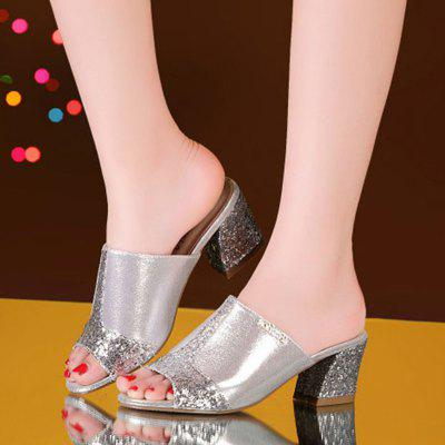 """Womens Open Toe Slippers Stylish Comfy Thick Heel Elegant Decoration Ladiess Daily ShoesSlippers &amp; Flip-Flops<br>Womens Open Toe Slippers Stylish Comfy Thick Heel Elegant Decoration Ladiess Daily Shoes<br><br>Available Size: 35  36  37  38  39  40  41<br>Embellishment: Sequined<br>Gender: For Women<br>Heel Height: 5.5<br>Heel Height Range: Med(1.75""""-2.75"""")<br>Heel Type: Chunky Heel<br>Insole Material: PU<br>Leather Style: Patent Leather<br>Lining Material: PU<br>Outsole Material: Rubber<br>Package Contents: 1 x shoes(pair)<br>Pattern Type: Solid<br>Platform Height: 0.4<br>Season: Summer<br>Shoe Width: Medium(B/M)<br>Slipper Type: Indoor<br>Style: Fashion<br>Technology: Adhesive<br>Upper Material: Leather<br>Weight: 0.8512kg"""