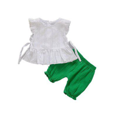 Baby Girl's Shorts Set 2 Pcs Solid Cute Tank Top Baby Clothes