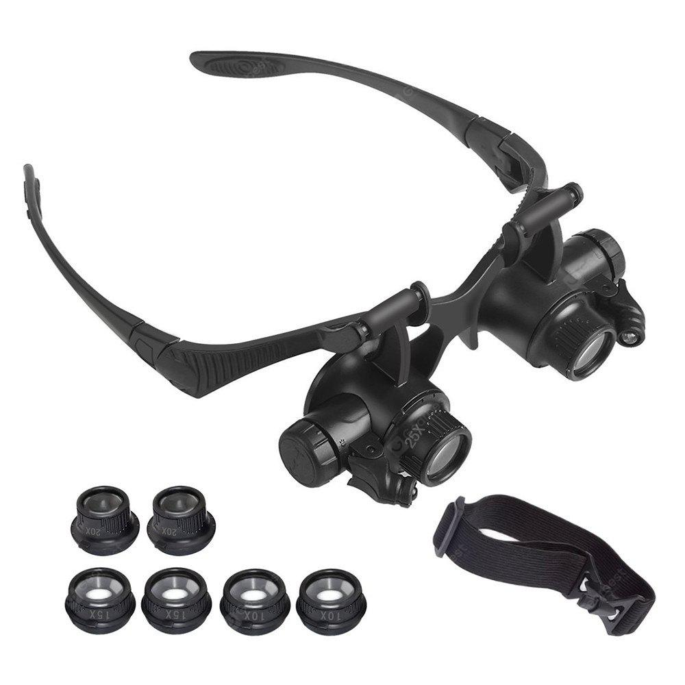 YWXLight Magnifying Glasses With LED Headlamp and Interchangeable Headband Jewelry 10X 15X 20X 25X