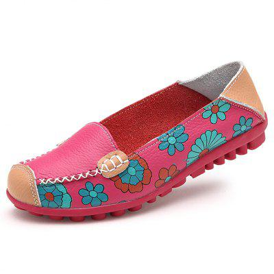 ZEACAVA Large Size Floral Print Split Leather Casual Flats
