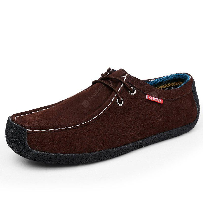 ZEACAVA Men's Shoes Suede Casual Flat Heel Lace-Up Loafers
