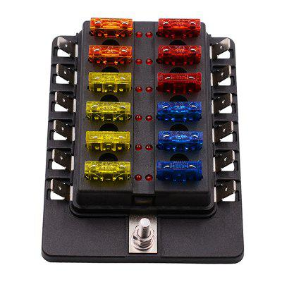 QMP-436 12 Way Circuit Car Fuse Box Waterproof 32V Terminal Block Auto Holder with LED Indicator Sticker
