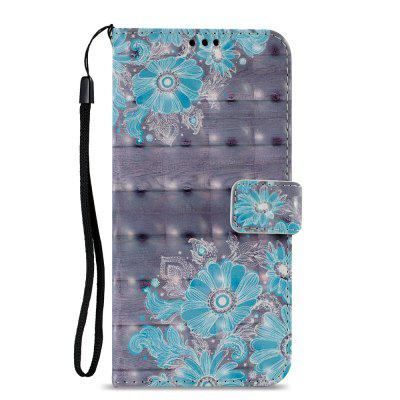 3D PU Leather Wallet Stand Case for Xiaomi Redmi 5 Plus Blue Flower Pattern