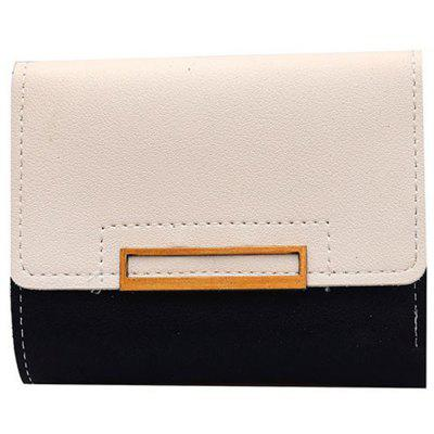 Purse Female Short Paragraph Hit Color Stitching Simple Three-fold Student Small Fresh Multifunctional Wallet
