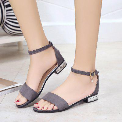 Flat Bottom Button Sandal Woman Thick HeelWomens Sandals<br>Flat Bottom Button Sandal Woman Thick Heel<br><br>Available Size: 35 36 37 38 39<br>Closure Type: Buckle Strap<br>Gender: For Women<br>Heel Type: Flat Heel<br>Occasion: Casual<br>Package Content: 1 x Shoes ( pair )<br>Pattern Type: Solid<br>Sandals Style: Gladiator<br>Style: Leisure<br>Upper Material: PU<br>Weight: 0.4928kg