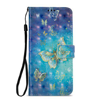 3D PU Leather Wallet Stand Case for Xiaomi Redmi 5 Plus Golden Butterfly Pattern