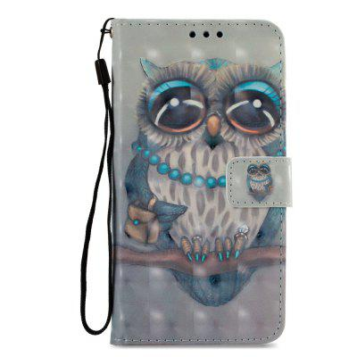 3D PU Leather Wallet Stand Case for Xiaomi Redmi 5 Gray Owl Pattern