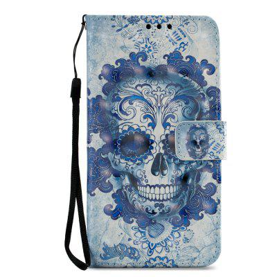 3D PU Leather Wallet Stand Case for Xiaomi Redmi 5 Blue Skull Pattern