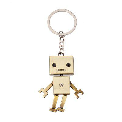 Creative Personality Retro Robot Model Metal Keychain Small Pendant