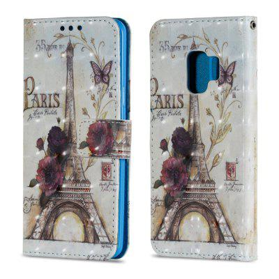 3D PU Leather Flip Wallet Stand Case for Samsung Galaxy S9 Tower Pattern